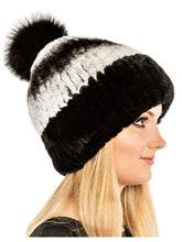 Load image into Gallery viewer, Rex rabbit beanie with fox pom pom