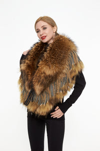 Fox fur cape with fringes