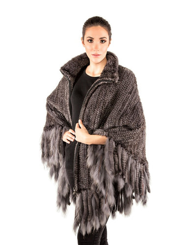 Knitted mink poncho with zipper & fringes