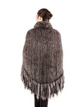 Load image into Gallery viewer, Knitted mink poncho with zipper & fringes