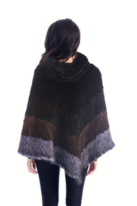 Knitted mink poncho