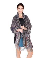 Load image into Gallery viewer, Cashmere shawl with rex rabbit trim
