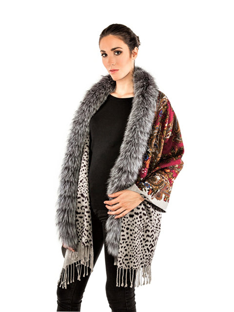 Double face printed cashmere shawl with silver fox trim