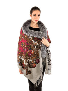 Double side printed cashmere shawl with silver fox trim