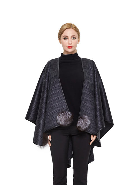 Double face cashmere cape with leather trim
