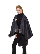 Load image into Gallery viewer, Double face cashmere cape with fox pom pom