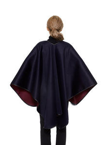 Cashmere blend cape with genuine leather trim