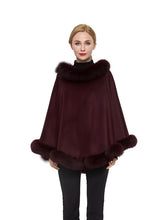 Load image into Gallery viewer, Cashmere poncho with fox trim