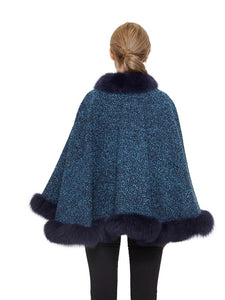 Wool blend cape with fox trim