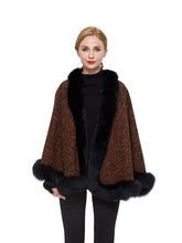 Load image into Gallery viewer, Wool blend cape with fox trim