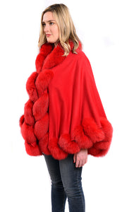 Cashmere shawl with fox fur trim