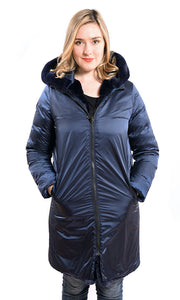 Rex reversible coat with down sleeves