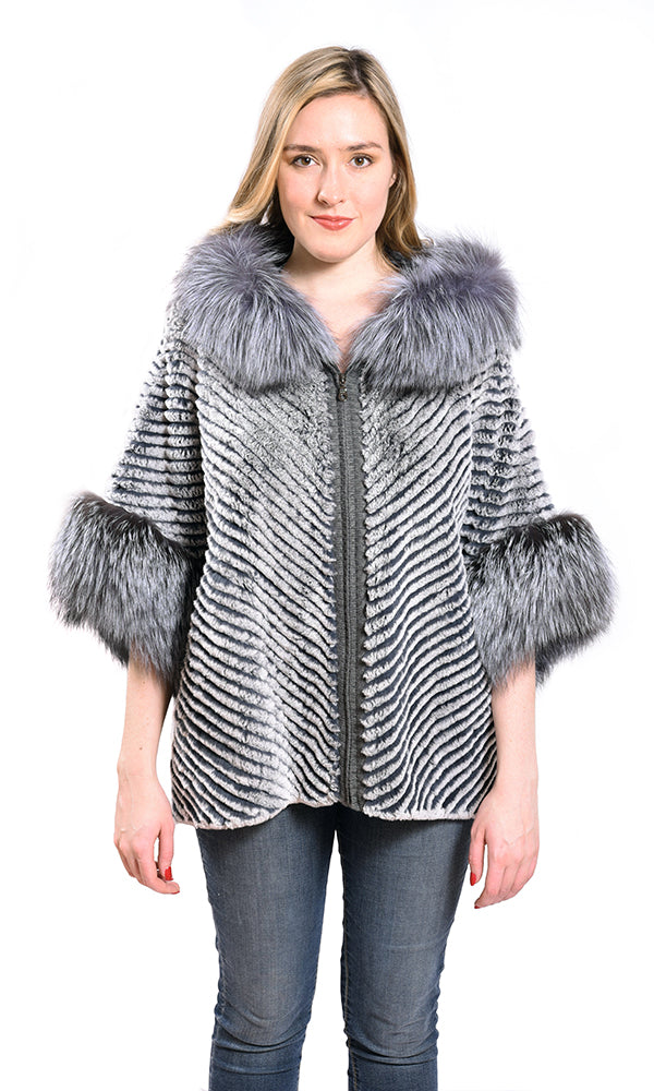 Layered rex poncho with hood silver fox trim