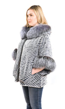 Load image into Gallery viewer, Layered rex poncho with hood silver fox trim