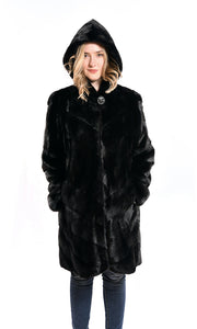 Full skin mink coat with hood