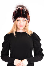 Load image into Gallery viewer, Knitted rex rabbit beanie with fox pom pom