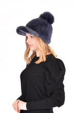 Load image into Gallery viewer, Knitted mink cap with fox fur pom pom