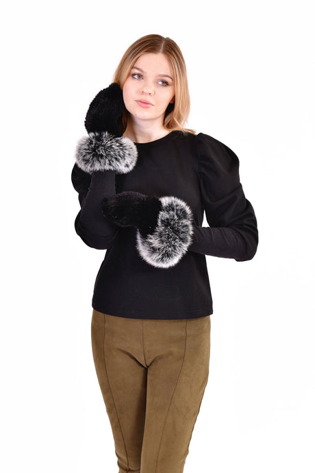 Knitted mink mittens with fox fur trim