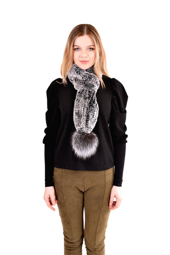 Knitted rex rabbit scarf pull through with fox fur pom pom