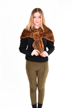 Load image into Gallery viewer, Knitted rex rabbit cape with rosette pull through