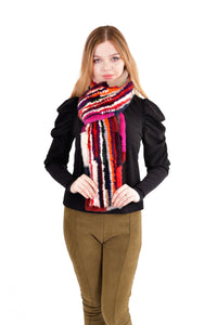 Knitted mink multi color scarf