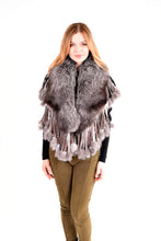 Load image into Gallery viewer, Fox fur cape with fringes