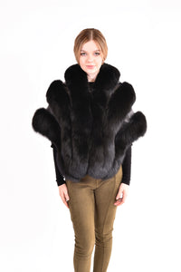 Fox fur cape with leather