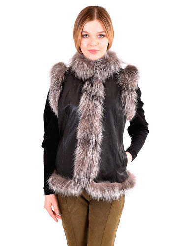 Leather vest with silver fox trim