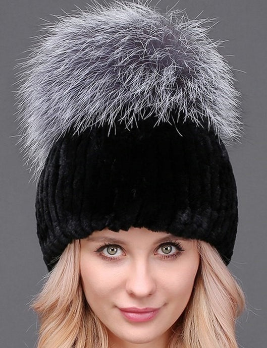 Rex rabbit beanie with silver fox pom pom