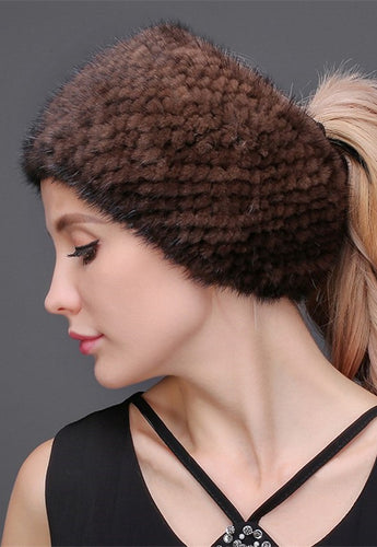 Knitted mink headband & neck warmer