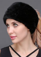 Load image into Gallery viewer, Knitted mink headband & neck warmer