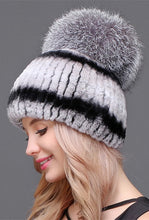 Load image into Gallery viewer, Rex rabbit beanie with silver fox pom pom