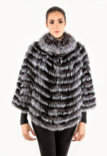 Layered silver fox poncho