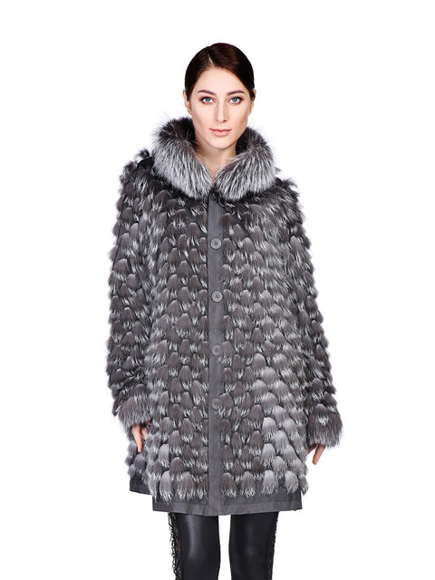 Silver fox reversible coat
