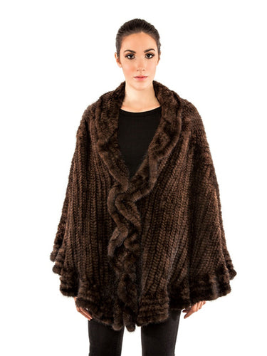 Knitted mink cape with ruffles