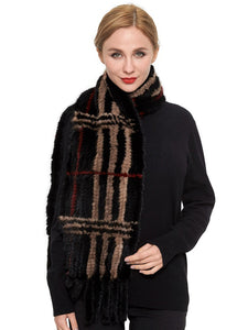 Knitted mink plaid scarf with fringe