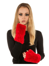 Knitted mink fingerless gloves