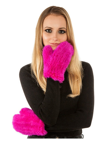 Knitted mink mittens