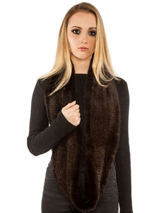 Knitted mink infinity scarf