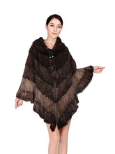 Load image into Gallery viewer, Knitted mink poncho with hood & zipper