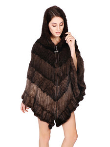 Knitted mink poncho with hood & zipper
