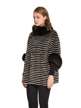 Load image into Gallery viewer, Mink poncho with fox trim
