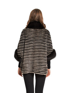 Mink poncho with fox trim
