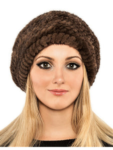 Knitted mink beret