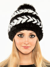 Load image into Gallery viewer, Mink beanie with fox pom pom