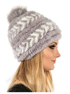Mink beanie with fox pom pom