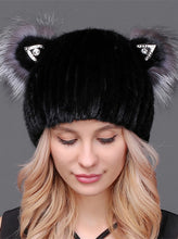 Load image into Gallery viewer, Mink beanie with cat ears