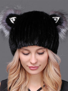 Mink beanie with cat ears