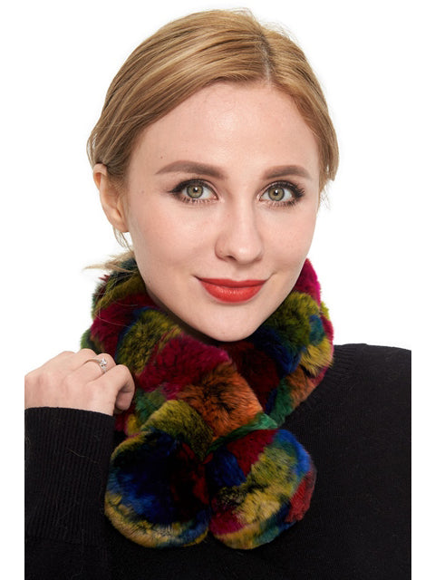 Rex rabbit scarf with pom pom