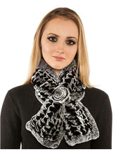 Load image into Gallery viewer, Knitted rex rabbit scarf with rosette